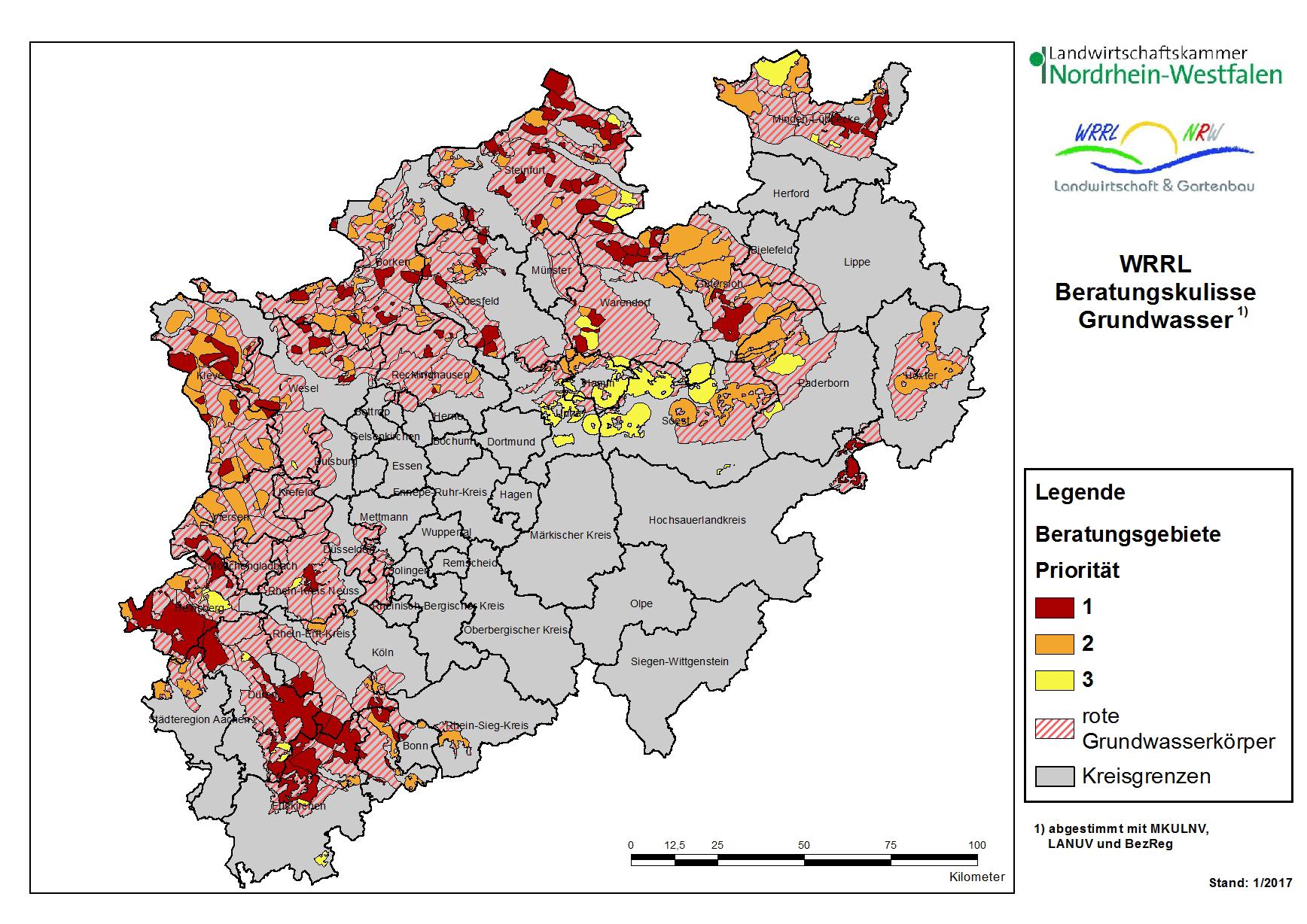 Nordrhein Westfalen Karte.Grundwasser Landwirtschaftskammer Nordrhein Westfalen